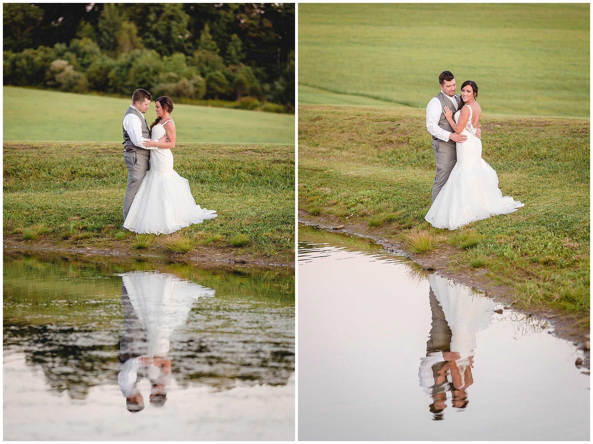 Bride and groom pose by the pond at White Barn