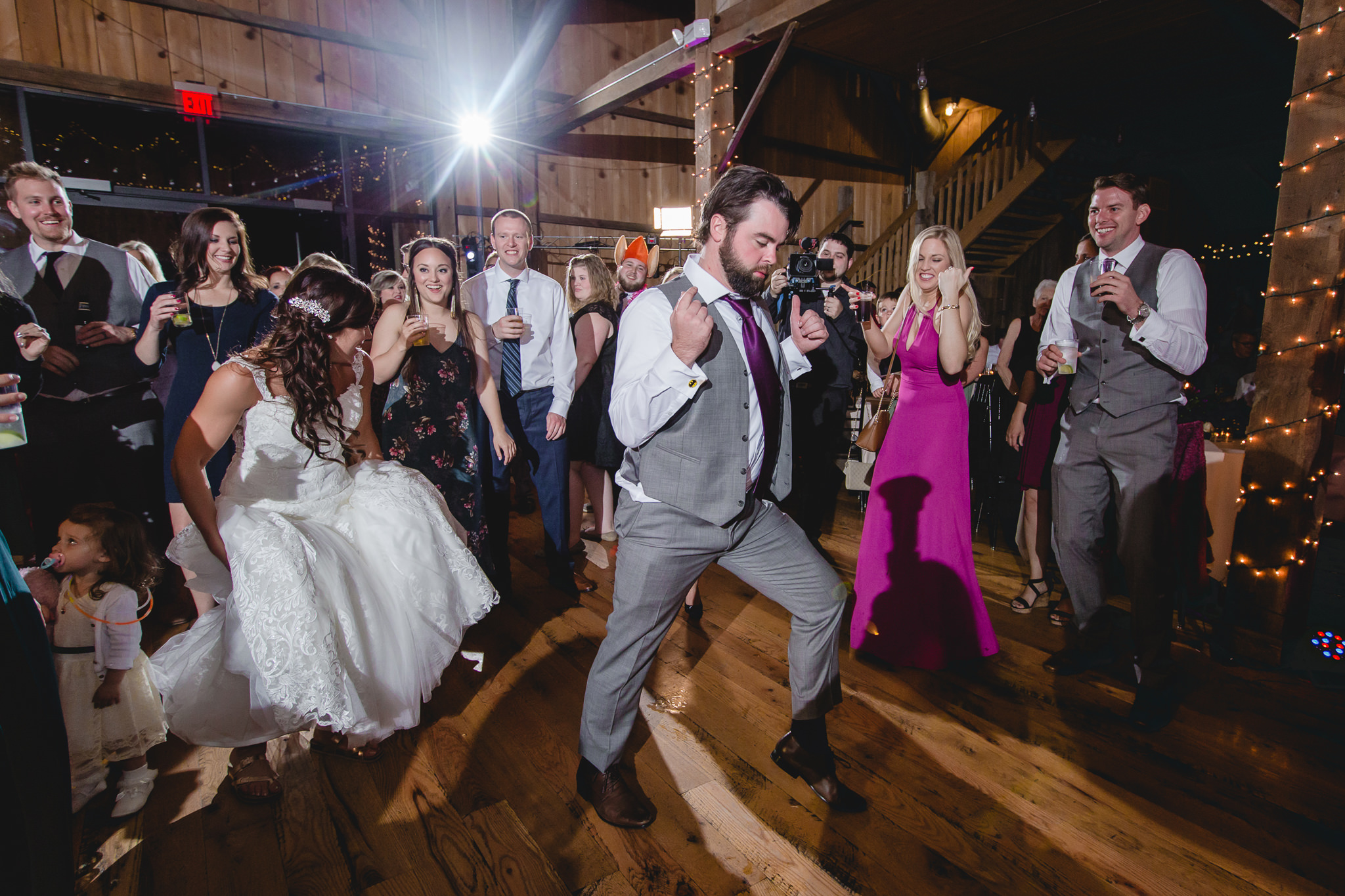 Best man shows off his dances moves at White Barn