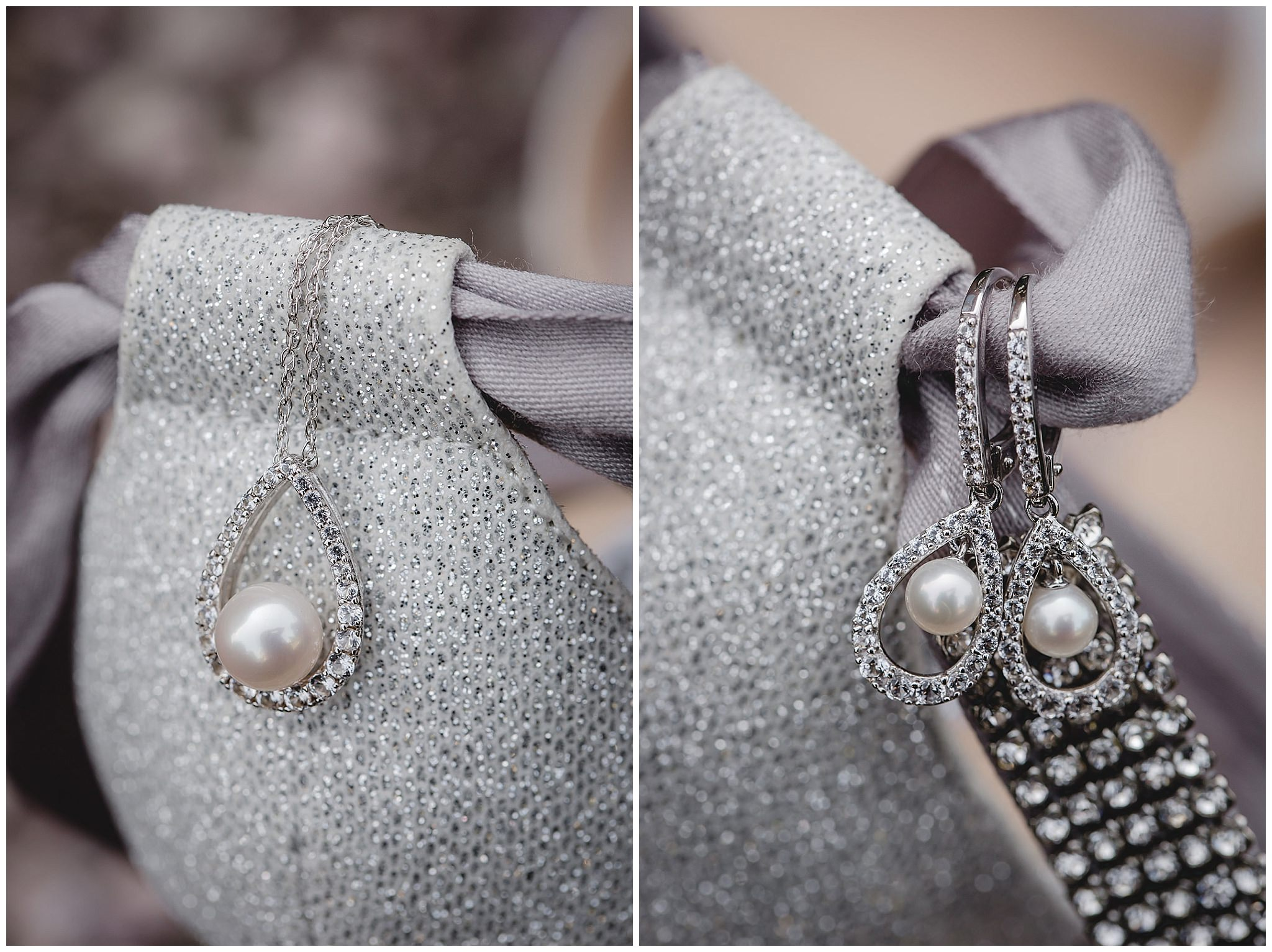 Closeup of bride's teardrop diamond earrings and necklace before her wedding at the Fez