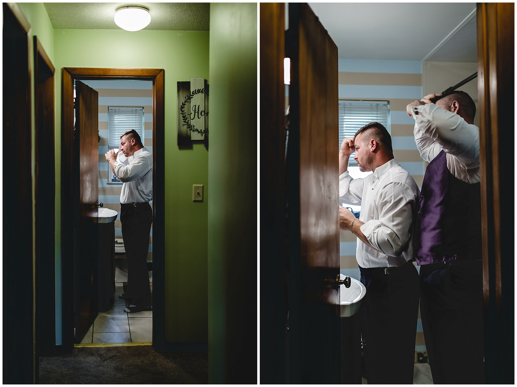 Groom fixes his hair before his wedding at the Fez