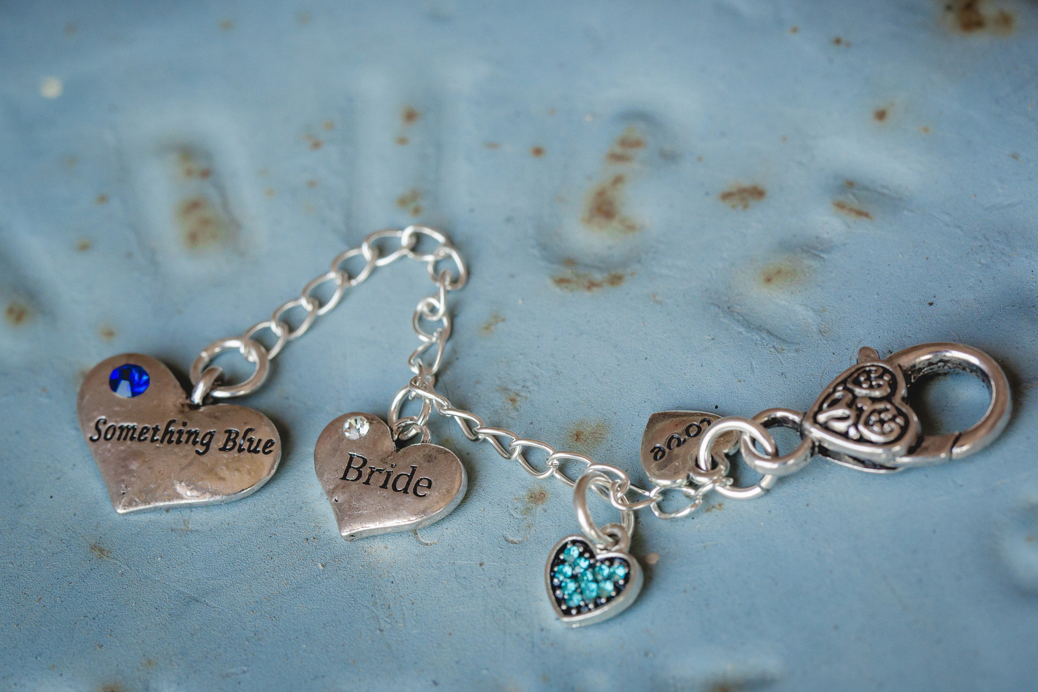Bride's something blue is a charm bracelet to put in her bouquet