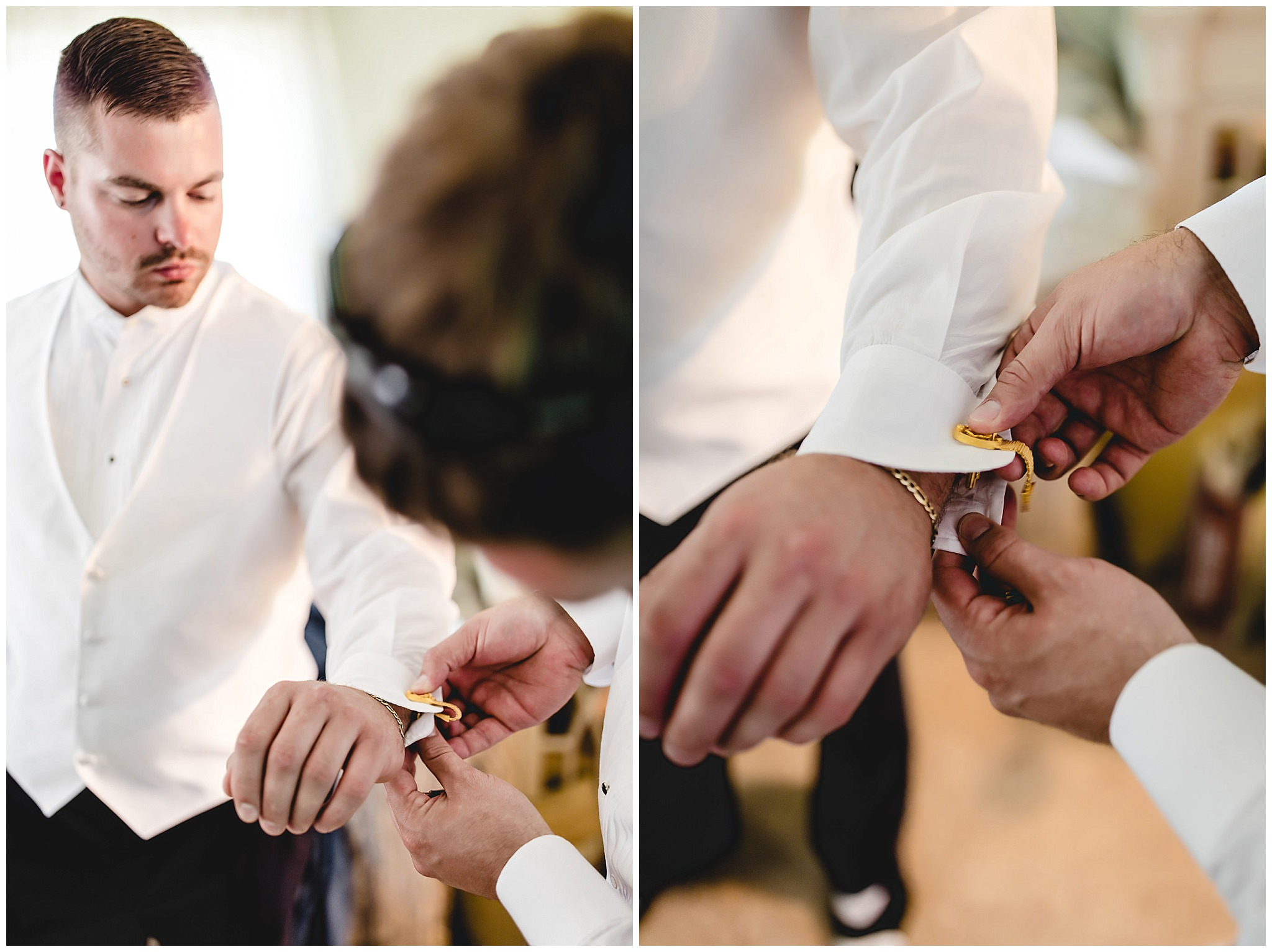 Groom's father helps put on his cufflinks before his wedding at St. Titus Church