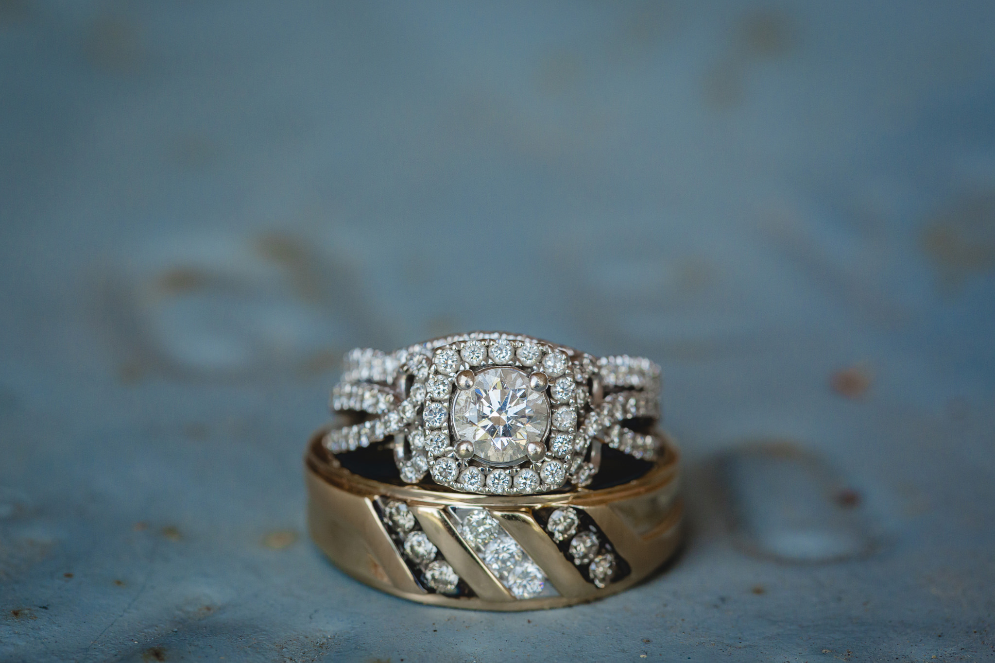 Diamond wedding bands and engagement ring before a wedding at the Fez
