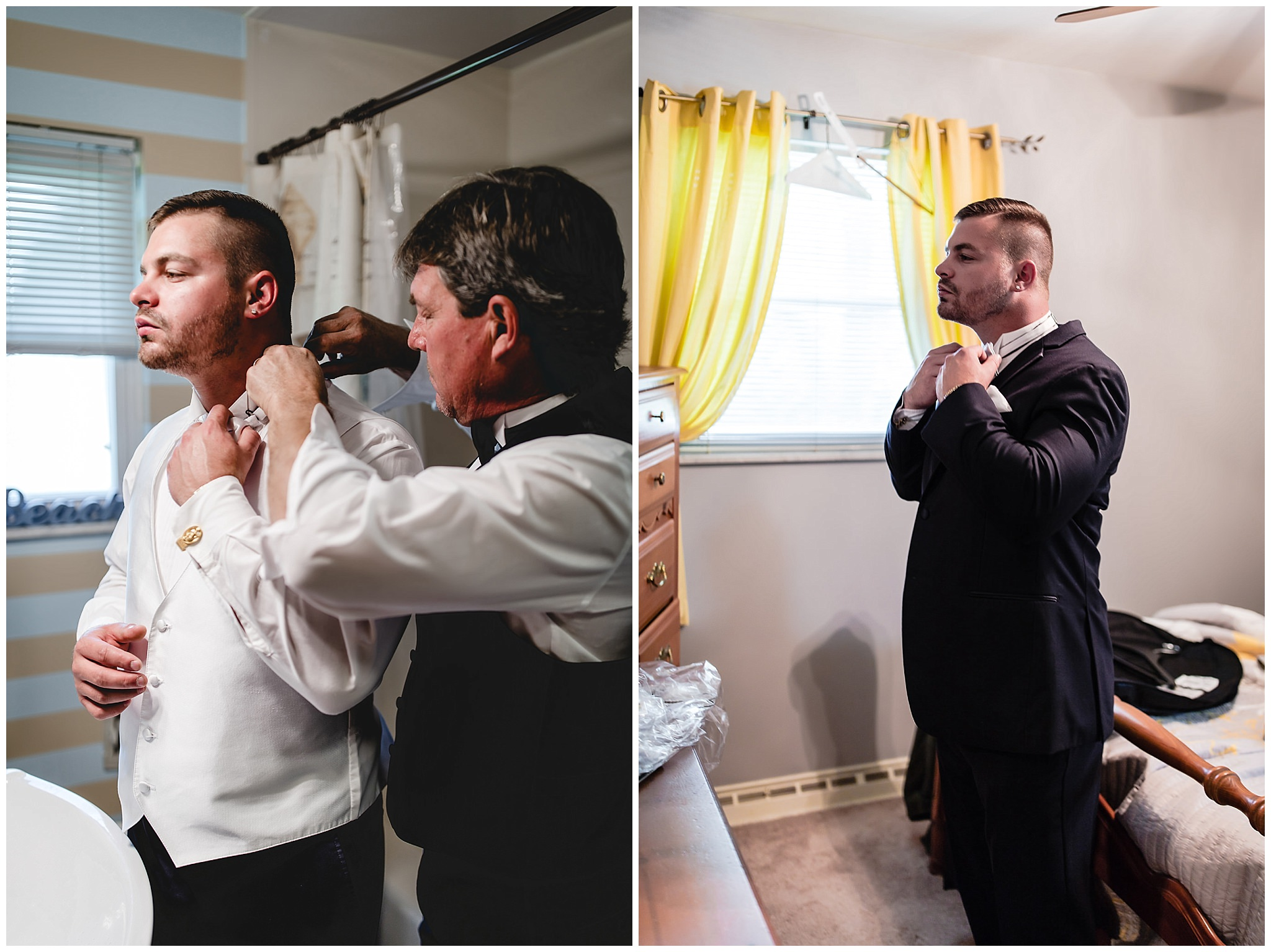 Groom straightens his bowtie in the mirror before his wedding ceremony