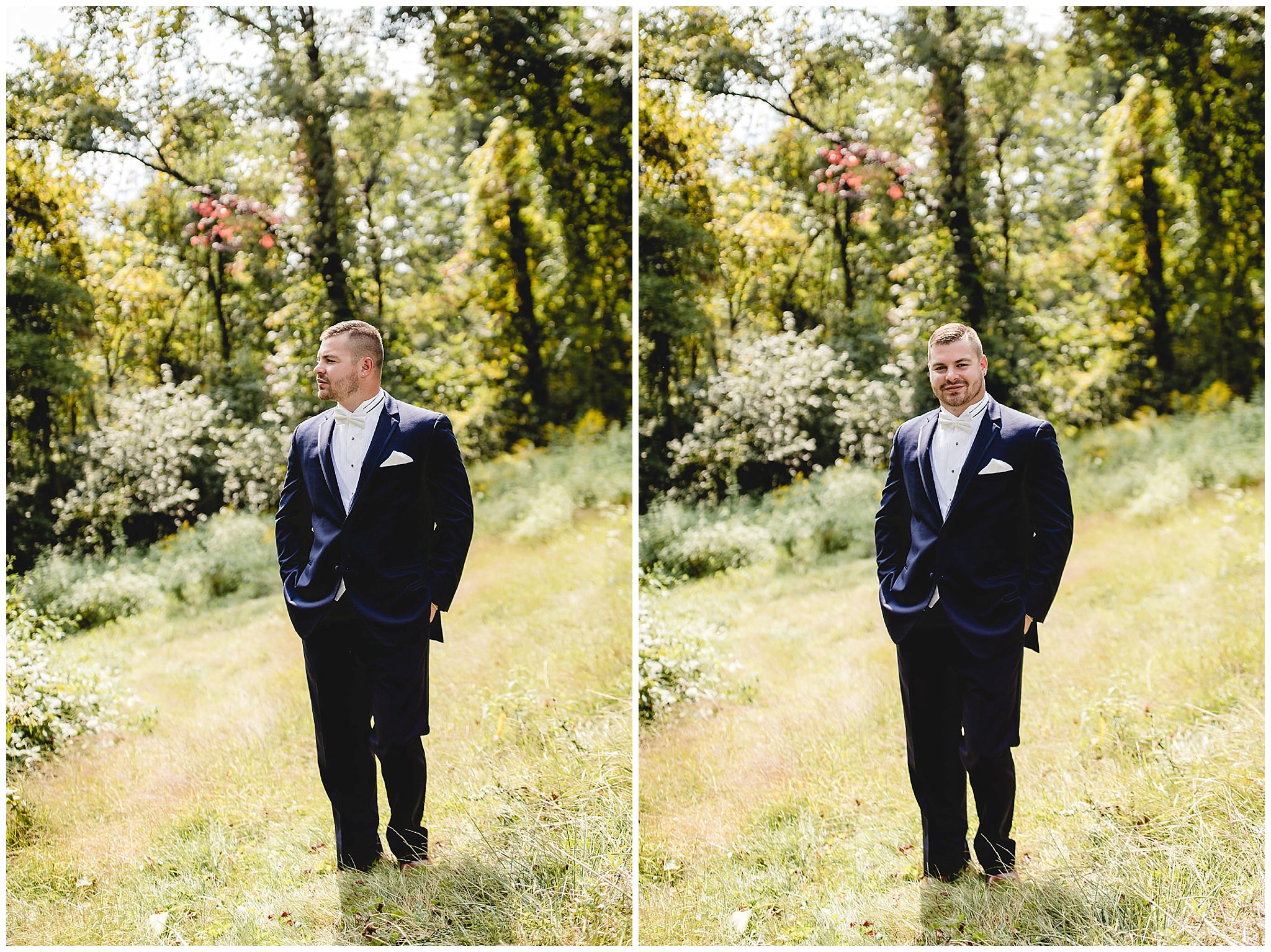 Groom poses in his tux from Men's Wearhouse before his wedding