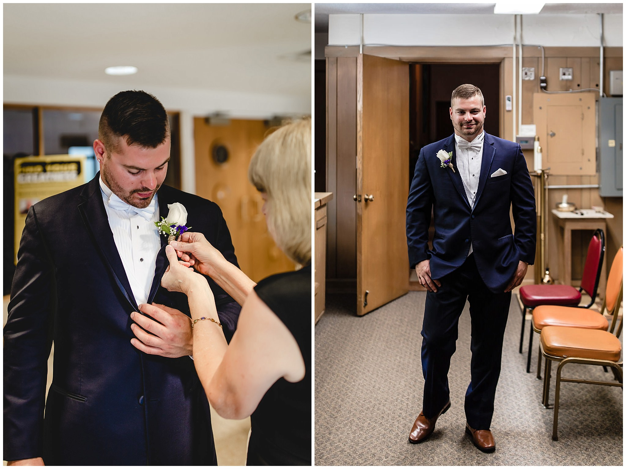 Groom gets his boutonniere pinned on before his wedding at St. Titus Church in Aliquippa
