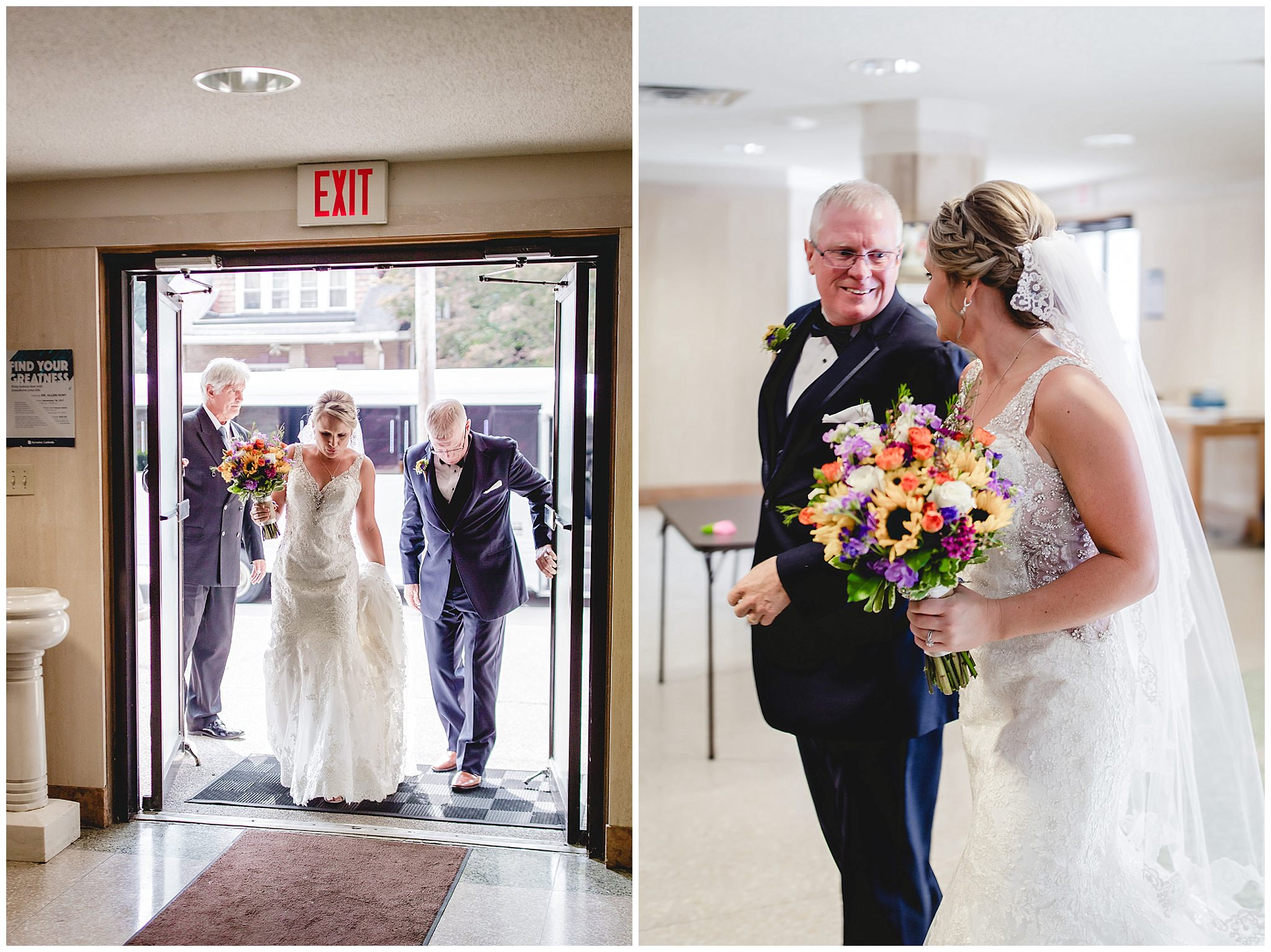 Bride and her father enter St. Titus Church for her wedding ceremony