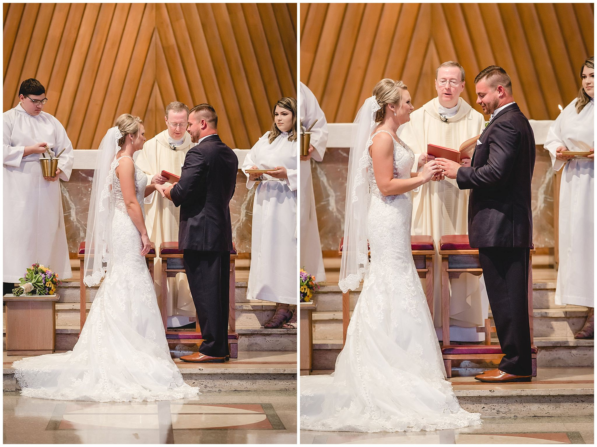 Bride and groom exchange rings during their ceremony at St. Titus Church