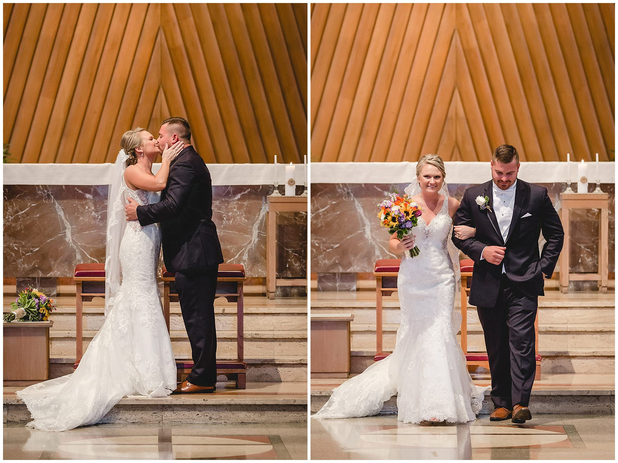 Newlyweds share their first kiss in St. Titus Church