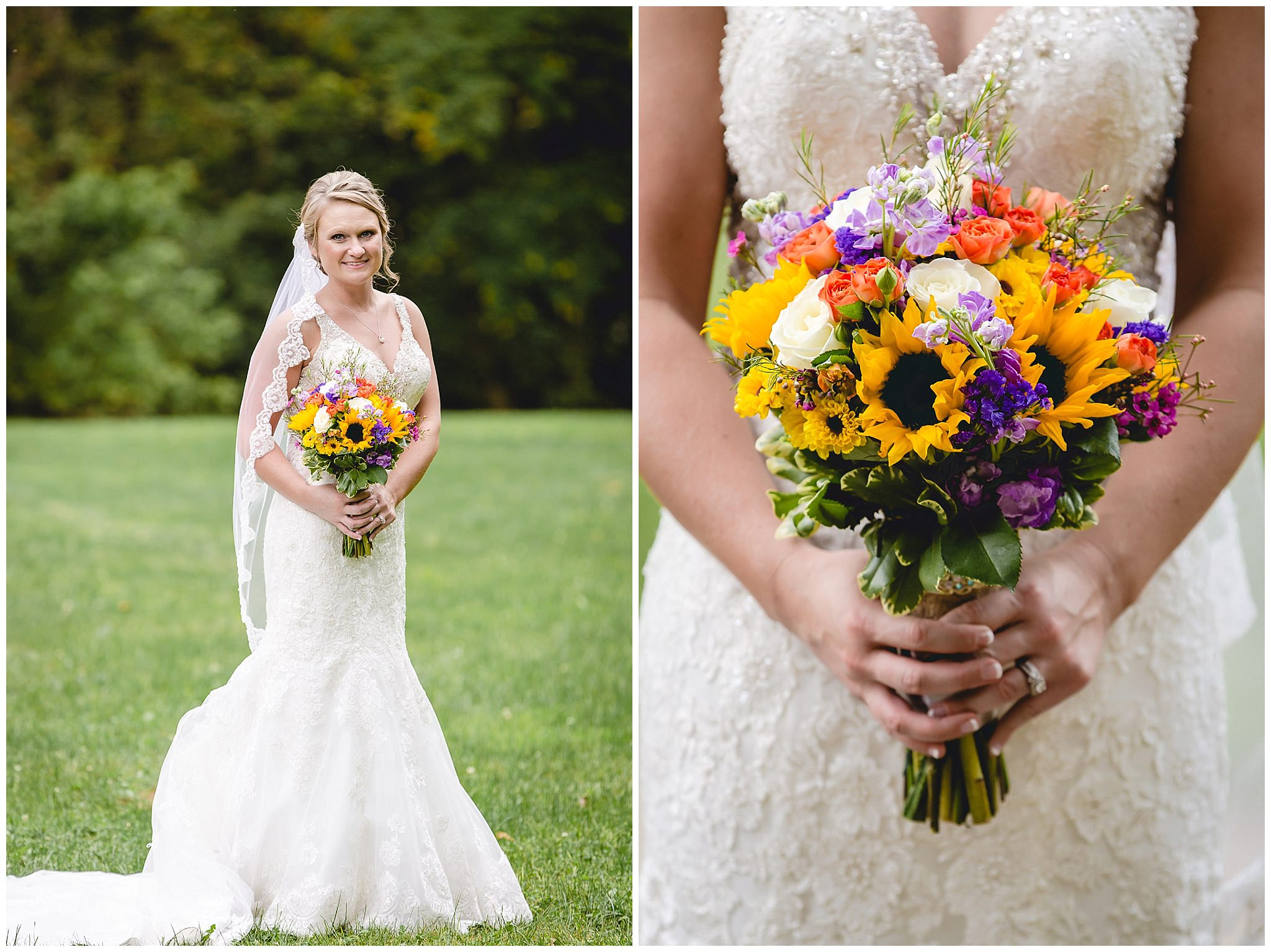 Bride poses with her bouquet by Patti's Petals Flower Shop