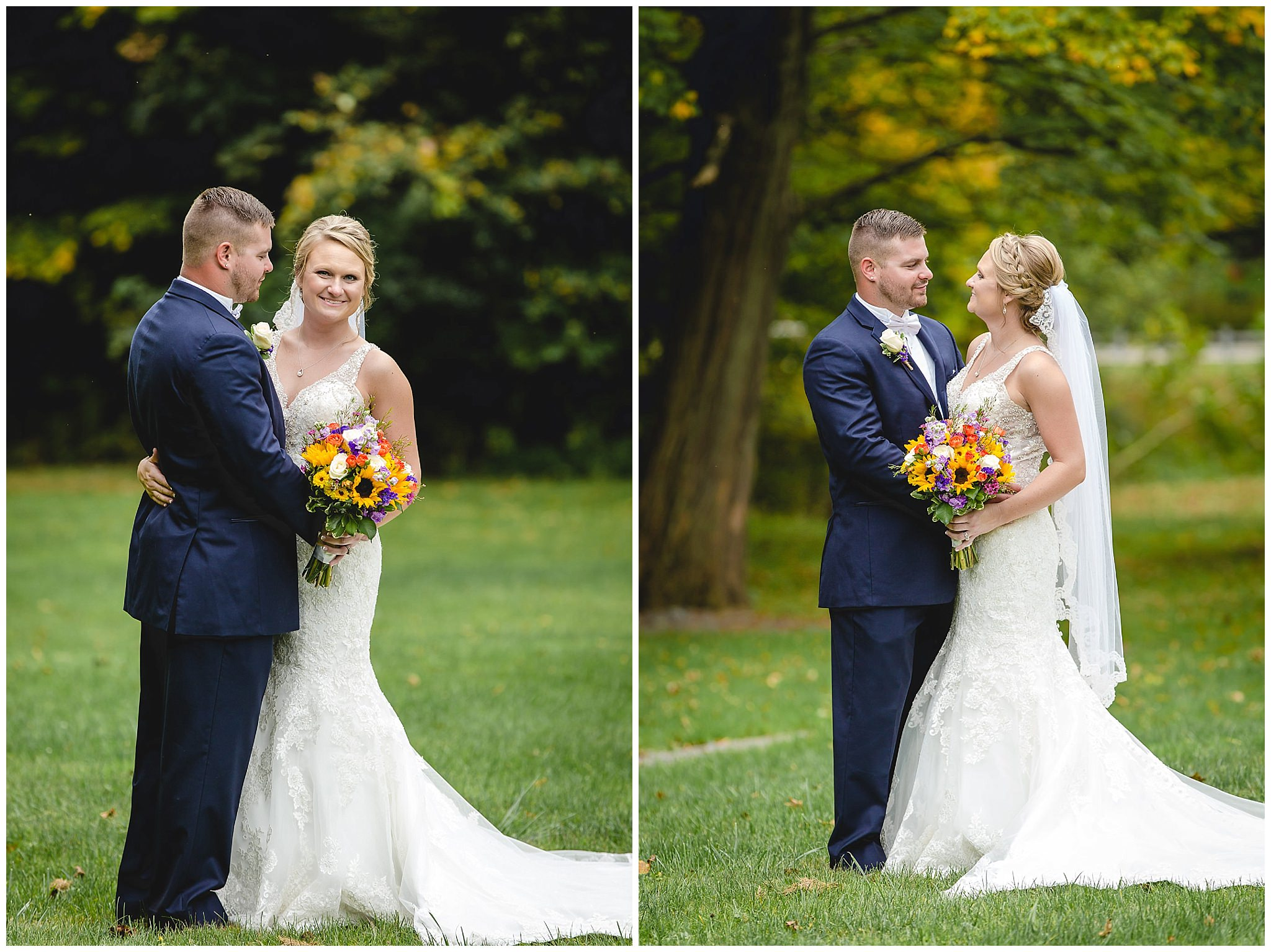 Bride and groom pose for photos in Moon Township