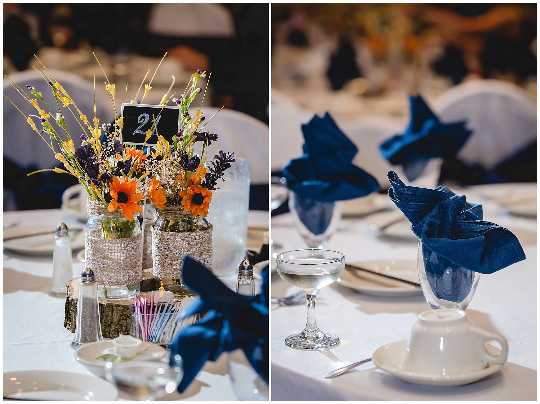 Fall floral centerpieces in mason jars at a Fez wedding reception