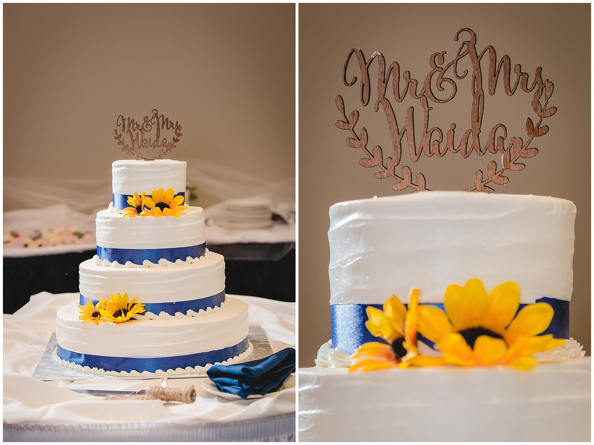 Wedding cake with blue stripes and yellow flowers at a reception at the Fez