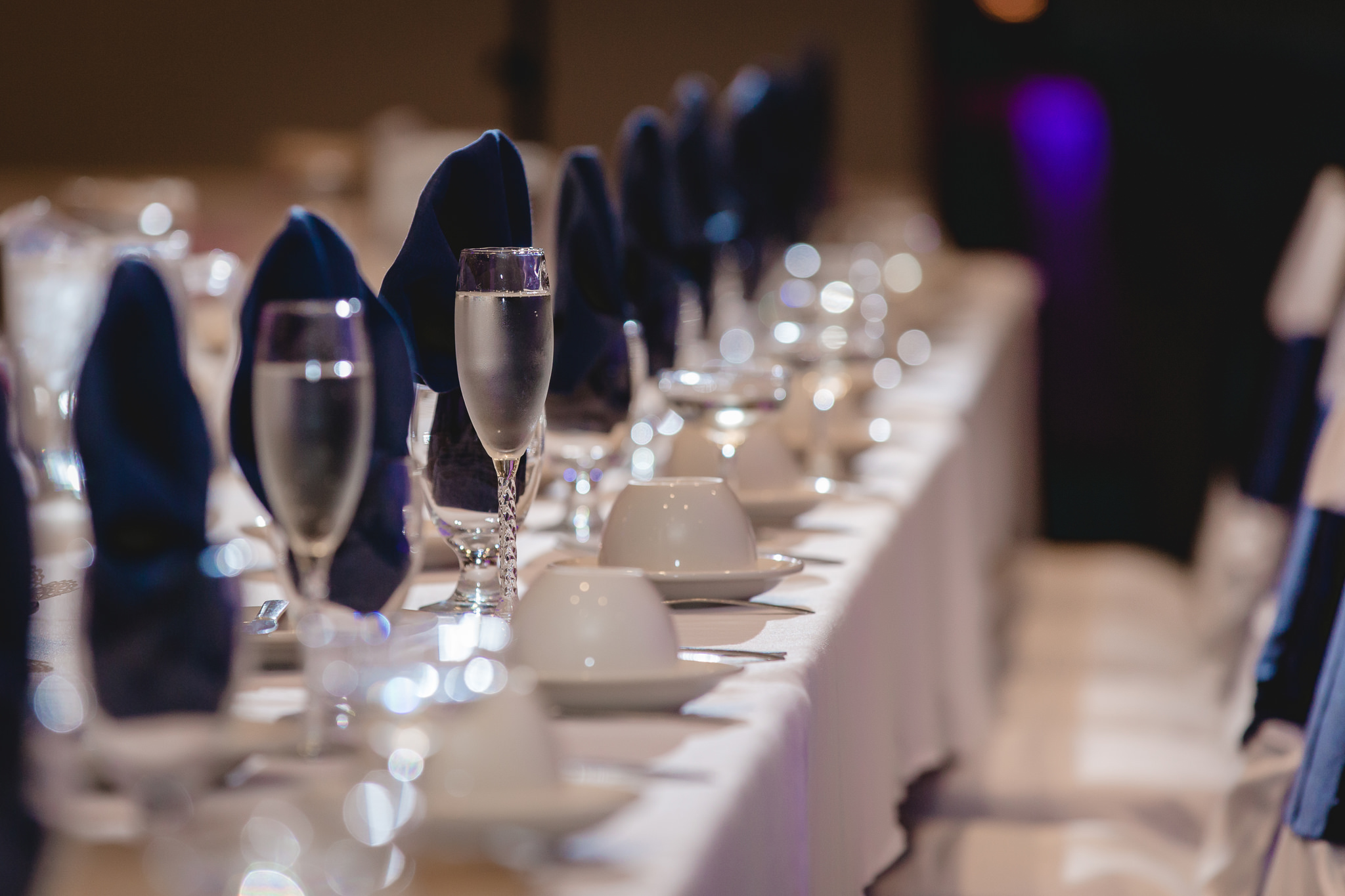 Champagne waits for the newlyweds at the head table at the Fez