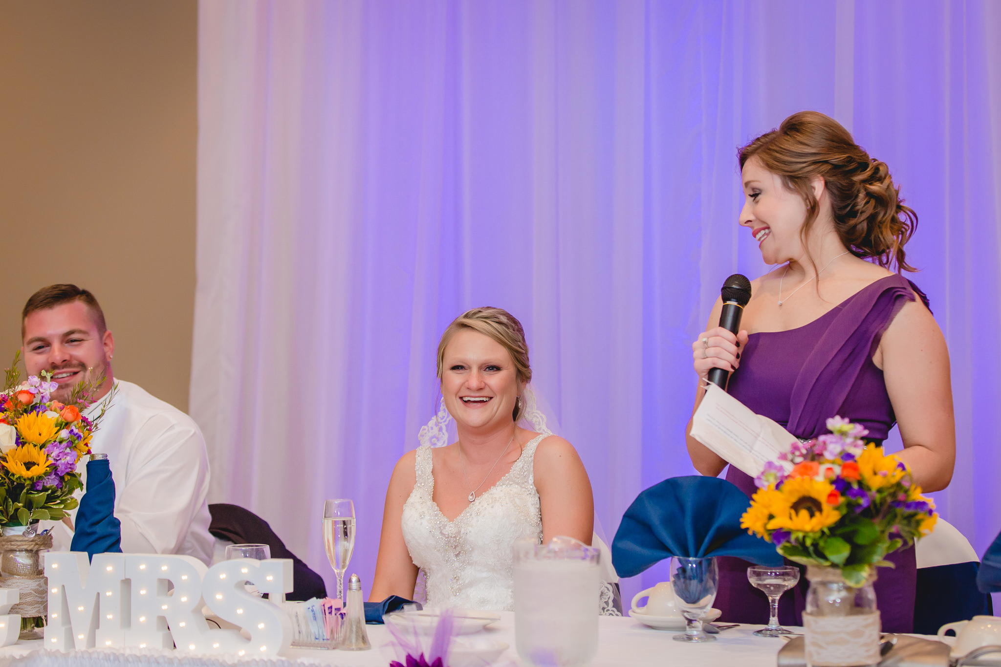 Maid of honor toasts the bride and groom at their Fez wedding reception