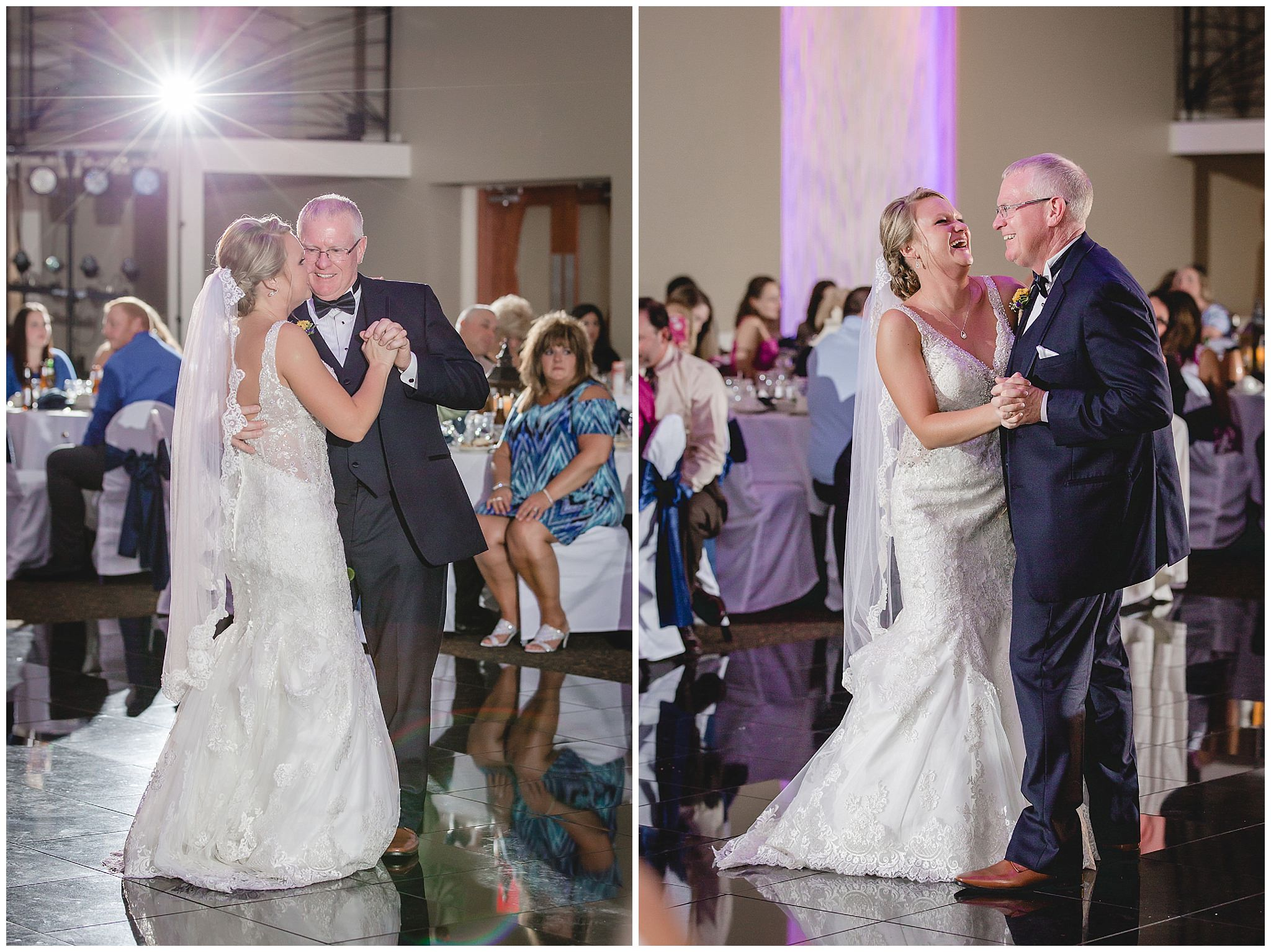 Bride dances with her father at a Fez wedding reception